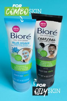 These creamy Bioré Whipped Detox Masks leave pores clean, refreshed and ever-so-nourished in just minutes. With natural charcoal for oily skin or blue agave for combination skin, these masks with cooling menthol give you an intense pore-tingling clean. Proactive Skin Care, Natural Charcoal, Natural Skin, Best Face Wash, Combination Skin Care, Clean Pores, Best Face Products, Oily Skin, Healthy Skin