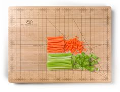 THE OBSESSIVE CHEF CUTTING BOARD - Do you obsess over the accuracy of your juliennes and batonnets? Or perhaps you're a culinary student whose chef instructor doesn't tolerate uneven brunoises? Then,The Obsessive Chef Cutting Boardis here to help. Part kitchen tool, part OCD-encourager, the cutting board includes guides for the most important cuts.
