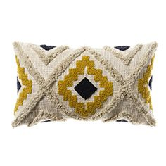 Mexica Cushion Mustard & Navy - Home Republic Find premium statement & comfort cushions in high fashion finishes such as velvet, sheepskin, linen & faux fur, perfect for indoors or out at Adairs Online. Mustard Living Rooms, Mustard Bedroom, Mustard Bedding, Yellow Throw Pillows, Yellow Cushions, Aztec Bedroom, Mustard Cushions, Mustard Sofa, Boho Cushions