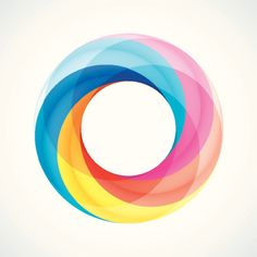 Vector Art : Abstract Design Logo Element: Twisted circles with 5 pieces