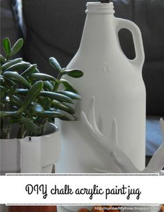 DIY chalk acrylic paint upcycle jug