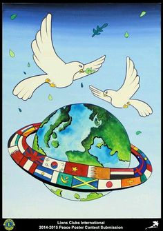 Lions Clubs International Peace Poster Competition submission from Daejeon Mokhwa Lions Club in Korea Poster Competition, Drawing Competition, Poster On Peace, Peace Drawing, Indian Art Paintings, Acrylic Paintings, Unity In Diversity, Peace Dove, Art Competitions