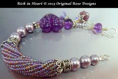 Зарезервировано для JuJu'sRich в сердце фиолетовое Lampwork от originalrose