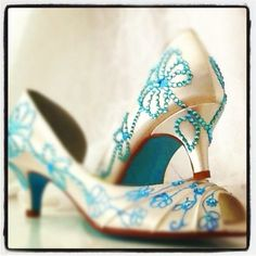 Wedding Shoes tiffany blue crystals painted blue by norakaren, $275.00
