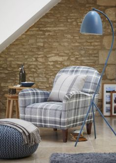 Lausanne armchair check charcoal 299 stockholm nest of 2 occasional Living Room Grey, Home Living Room, Home Bedroom, Living Spaces, Lausanne, Snug Room, Living Room Flooring, Living Room Inspiration, Soft Furnishings