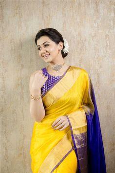 Actress Nikki Galrani appears beautiful in the traditional yellow saree at the latest photoshoot. Nikki Galrani looks very pretty in saree. Fashion Designer, Indian Designer Wear, Saris, Silk Saree Kanchipuram, Silk Sarees, Ethnic Sarees, Bollywood, Indian Bridal Sarees, Yellow Saree