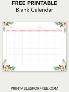 Free Printable Blank Calendar - Organize your life with this free printable blank calendar. Fill out this calendar however you like Free Printable Calendar Templates, Printable Place Cards, Monthly Planner Printable, Free Printable Stationery, Printable Blank Calendar, Free Printable Banner, Free Calendar, Free Printables, Planners