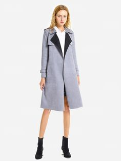 3bf8bfb38cf45 Faux Suede Tie Waist Trench Coat -  34.59 Free Shipping