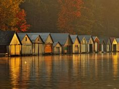 Boathouses at Dawn, Greater Sudbury, Ontario
