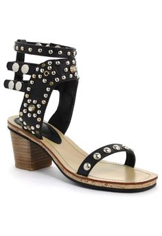 Rolling Night Studded Sandals in Black