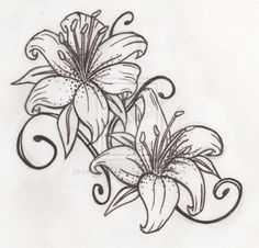 Black and White Tiger Lily Sketch Tattoo, Tiger Lily Tattoo Designs Trendy Tattoos, Cute Tattoos, Body Art Tattoos, Sleeve Tattoos, Tatoos, Tiger Lily Tattoos, Lily Flower Tattoos, Tattoo Flowers, Stargazer Lily Tattoos