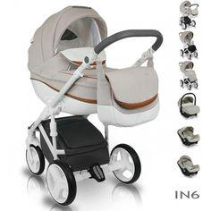 Bexa Ideal New Kinderwagen 3 in 1 Compleet Set Wit Frame Beige IN6