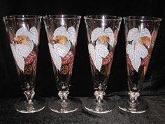Vintage Footed Pilsner Cocktail Glasses Leaf Design Set of 4 #Vintagebarware.