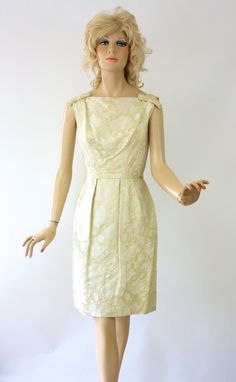 Vintage 60s Cocktail Dress Ivory Satin Brocade w by foreveracharm