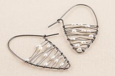Black and White Shield Earrings by Kathy Frey: Silver and Pearl Earrings available at www.artfulhome.com