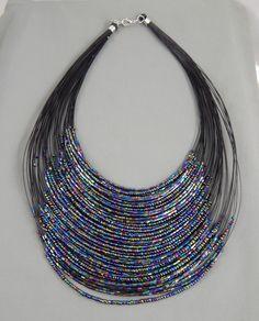 "Estate Iridescent Peacock Glass Seed Bead Wire Runway Bib Necklace 18"" adj #Unbranded #Bib"
