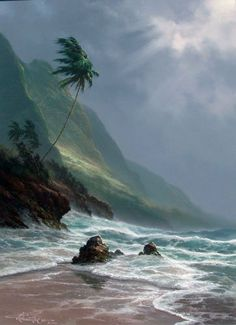 Storm Past 1994 (Hawaii) by Roy Tabora - Fantasy Landscape, Landscape Art, Landscape Paintings, Ocean Art, Ocean Waves, Beautiful Places, Beautiful Pictures, Hawaiian Art, Tropical Art