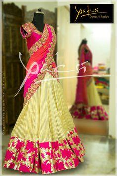 Lehenga looks so diff Indian Lehenga, Half Saree Lehenga, Saree Gown, Lehenga Style, Anarkali, Lehenga Designs, Half Saree Designs, Saree Blouse Designs, Indian Attire