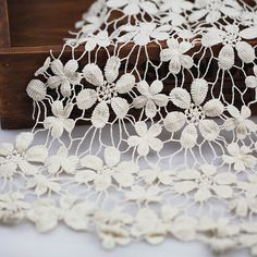 Cream Cotton Crochet Lace Fabric Floral Lace Fabric by lacediy