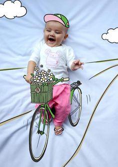 Rocío Ciclista bike bicicleta ride baby photography fotografía bebé creativa infantil niños kids illustration ilustración