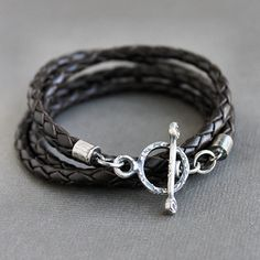 Braided Leather Wrap Bracelet Silver Rustic