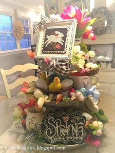 Spring Projects, Spring Crafts, Galvanized Tiered Tray, Galvanized Decor, Christmas Decorations, Table Decorations, Holiday Decor, Holiday Centerpieces, Spring Theme