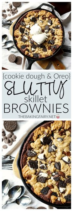 Take your brownies to the next level by adding homemade chocolate chip cookie dough and double-stuff Oreos, and turning them into Slutty Skillet Brownies! Skillet Brownie, Skillet Cake, Iron Skillet Recipes, Skillet Meals, Skillet Cooking, What's Cooking, Homemade Chocolate Chip Cookies, Melting Chocolate Chips, Chocolate Recipes