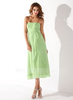 Empire Strapless Tea-Length Chiffon Bridesmaid Dress With Cascading Ruffles (007001923)