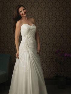 Sweetheart Court Train A-line Chiffon Wedding Dress