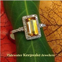 Here's another lovely citrine ring to go with the beautiful fall colors.  It's an emerald cut surrounded with diamonds. #citrinering