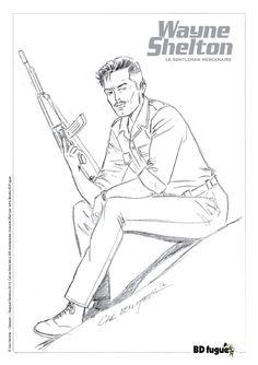 Ex-libris BD fugue pour la série Wayne Shelton, dessin de Denayer, scénario Van Hamme. #Dargaud #BD