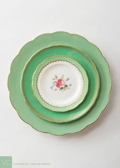 Whimsical bands of color with floral bouquets in the center. Vintage Plates, Vintage Dishes, Antique China, Vintage China, China Patterns, Flower Patterns, Green China, Green Plates, Holiday Mood