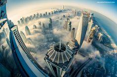 cloud city foggy Dubai aerial from above Princess-Tower Hotel Dubai, In Dubai, Dubai Uae, Visit Dubai, Dubai Skyline, Lac Michigan, Dubai Skyscraper, Dubai Tower, Cloud City
