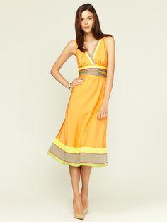 Catherine Malandrino   Belted Silk Stripe Midi Dress