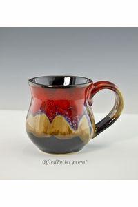 Handmade Pottery Desert Red Mugs 10 ozs