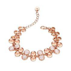 18K Rose Gemstone Emblems Bracelet with Austrian Crystal Elements, Women's 16+5CM Weightgrams: 17 -