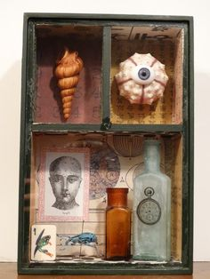 assemblage shadow box cabinet of curiosities mixed by gbshadowplay, $135.00
