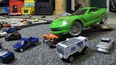 GIANT RC CORVETTE VS HOT WHEELS TOY CARS Action FUN!