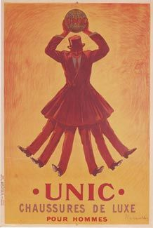 UNIC Chaussures poster by Cappiello 1913 France - Vintage Posters Reproductions. French shoes advertisement features a man with six legs holding the world above his head. He wears a brown suit and top hat. The globe reads UNIC. 1950s Posters, Poster Ads, Poster Prints, Vintage Travel Posters, Vintage Ads, Vintage Prints, Old Advertisements, Retro Advertising, Italian Posters