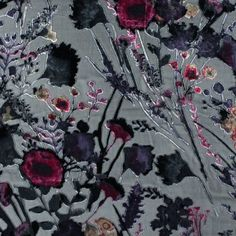 Meadow Floral Printed Silk and Rayon Burnout Velvet-315279-11