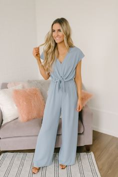 2ffc8ebd680d Sky Gazer Short Sleeve Knotted Jumpsuit - Light Blue