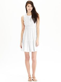 Women's Sleeveless Swiss-Dot Dresses. I almost bought it. Really cute dress