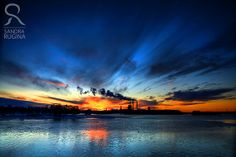 Beautiful sunset over the sea in Finland, factory smoke,  print you can frame for your wall