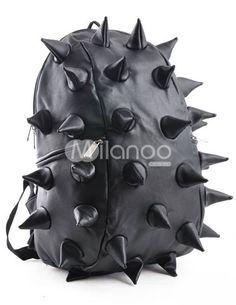 Punk Black Hedgehog Pattern PU Backpack - Milanoo.com