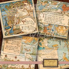 AESOP FABLES (1) - Digital Collage Sheet - Art Nouveau Square Cards 4 inch & Squares 2 inch - Buy 3 Get 1 Extra Free - Direct Download