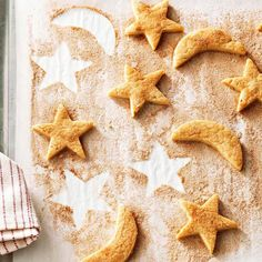 Biscochitos--Start your night off right with a batch of starry, brandy-infused biscochitos. These butter cookiesare flavored with anise and cinnamon, and can be formed into any shape with simple cookie cutouts.