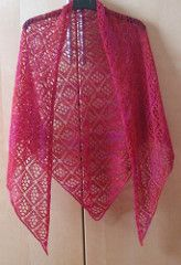 The yarn and needles are up to you. The size of the shawl depends on what yarn and needle size you use.