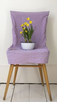 purple gingham loose slipcover, love this! I would use orange!