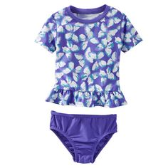 0ee18a591 9 mos-OshKosh Butterfly Print Peplum Rashguard Set Baby Girl Swimsuit, Baby  Girl Swimwear