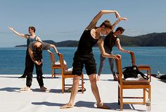 Warming up in paradise. The Australian Ballet performs at #qualia. #hamiltonisland